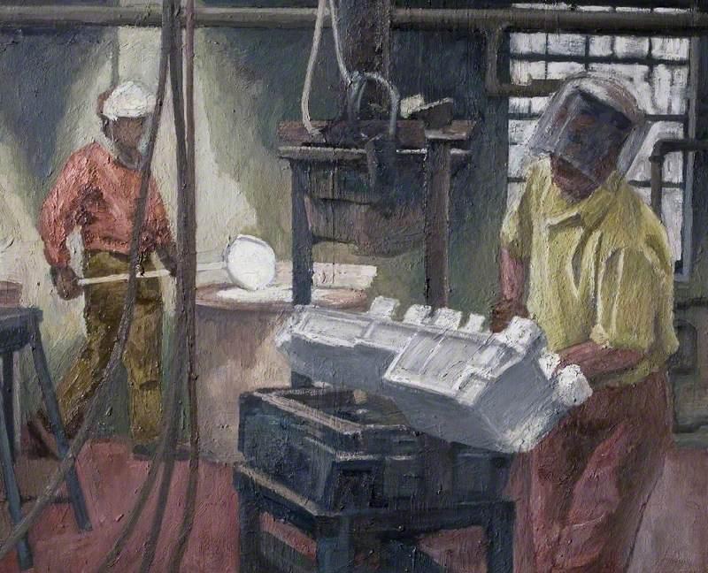 Worker Making a Jaguar Sump at Sarginson's Foundry, Torrington Avenue, Coventry