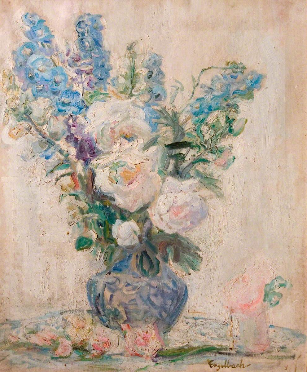 White Roses and Delphiniums