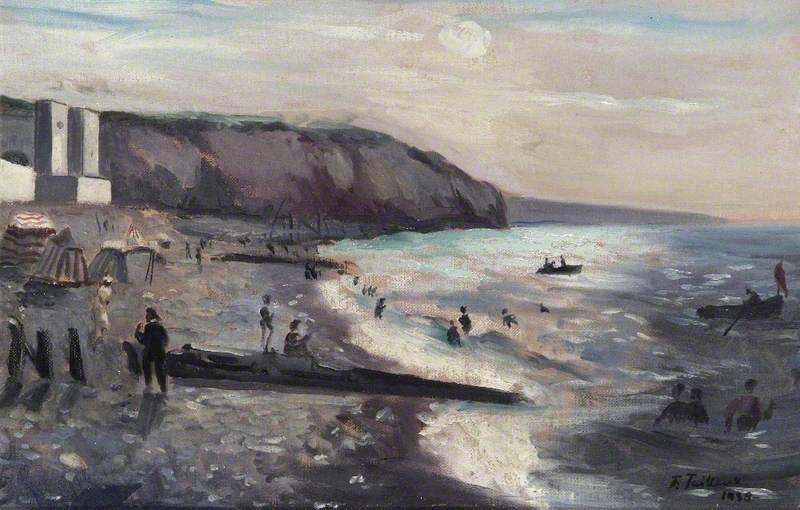 Dieppe, la plage à contre jour
