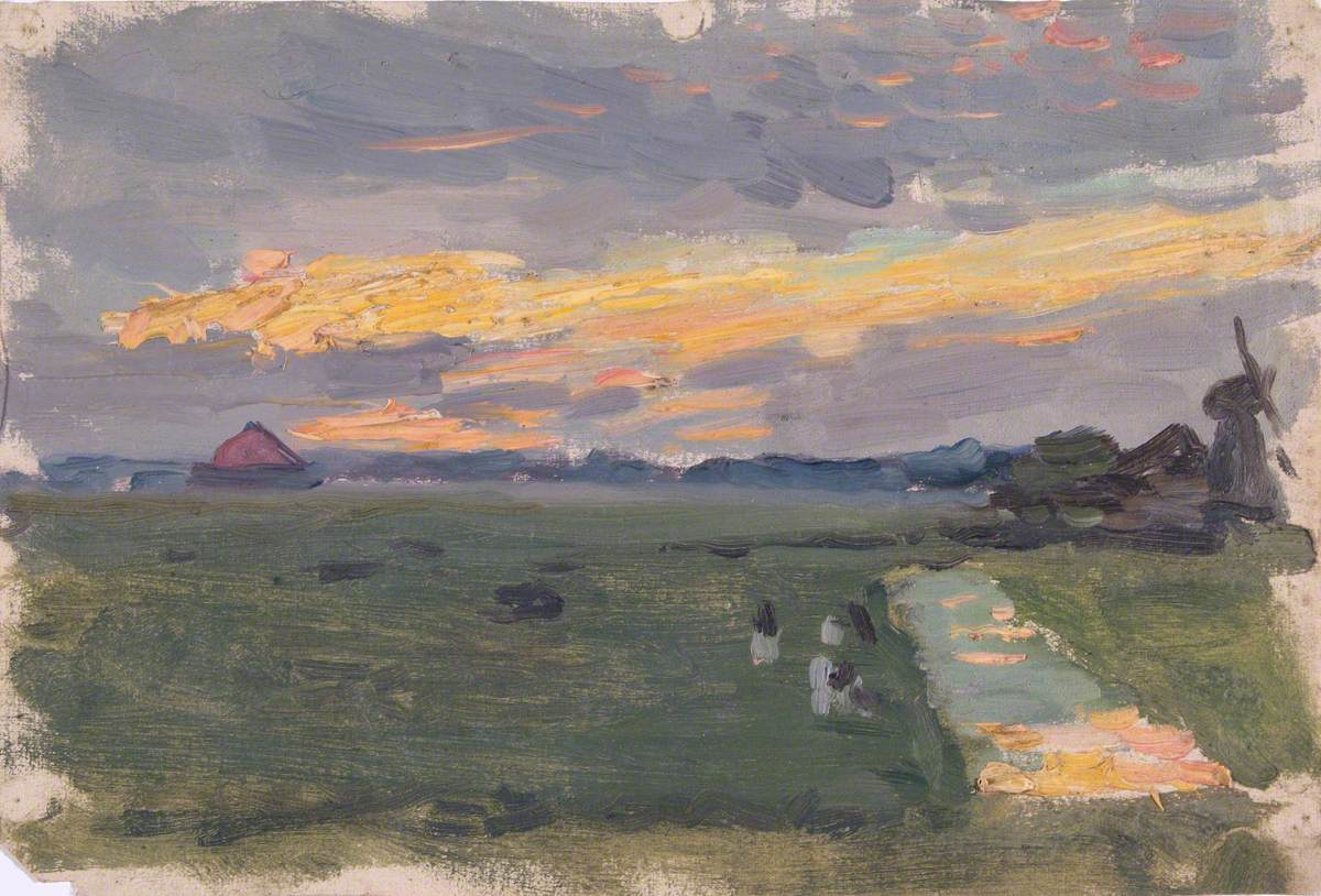 Sketch of Landscape at Sunset with Windmill
