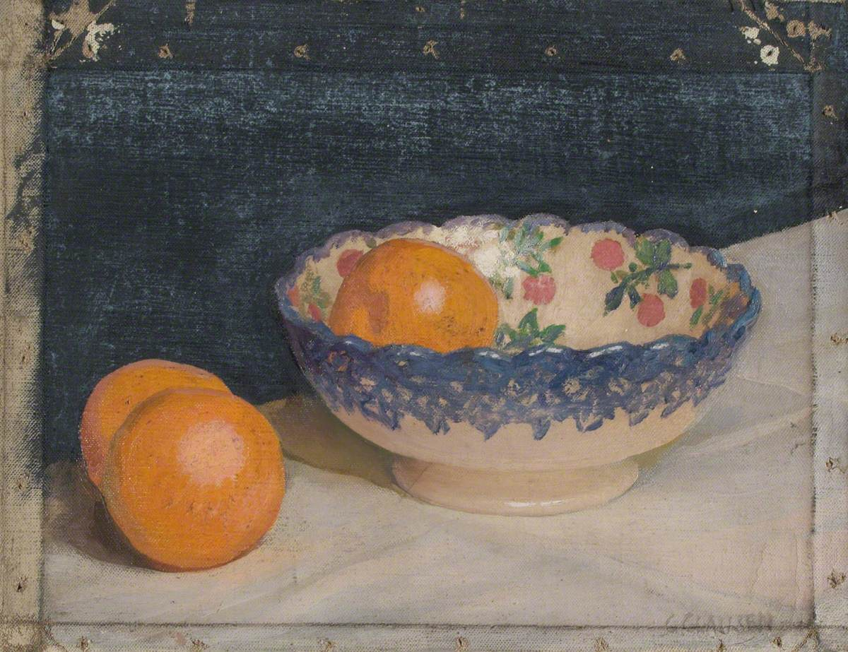 Sketch of a Still Life with Patterned Bowl and Oranges