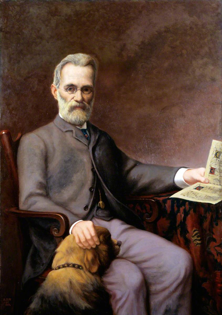 Alfredo Piatti (1822–1901), with His Dog