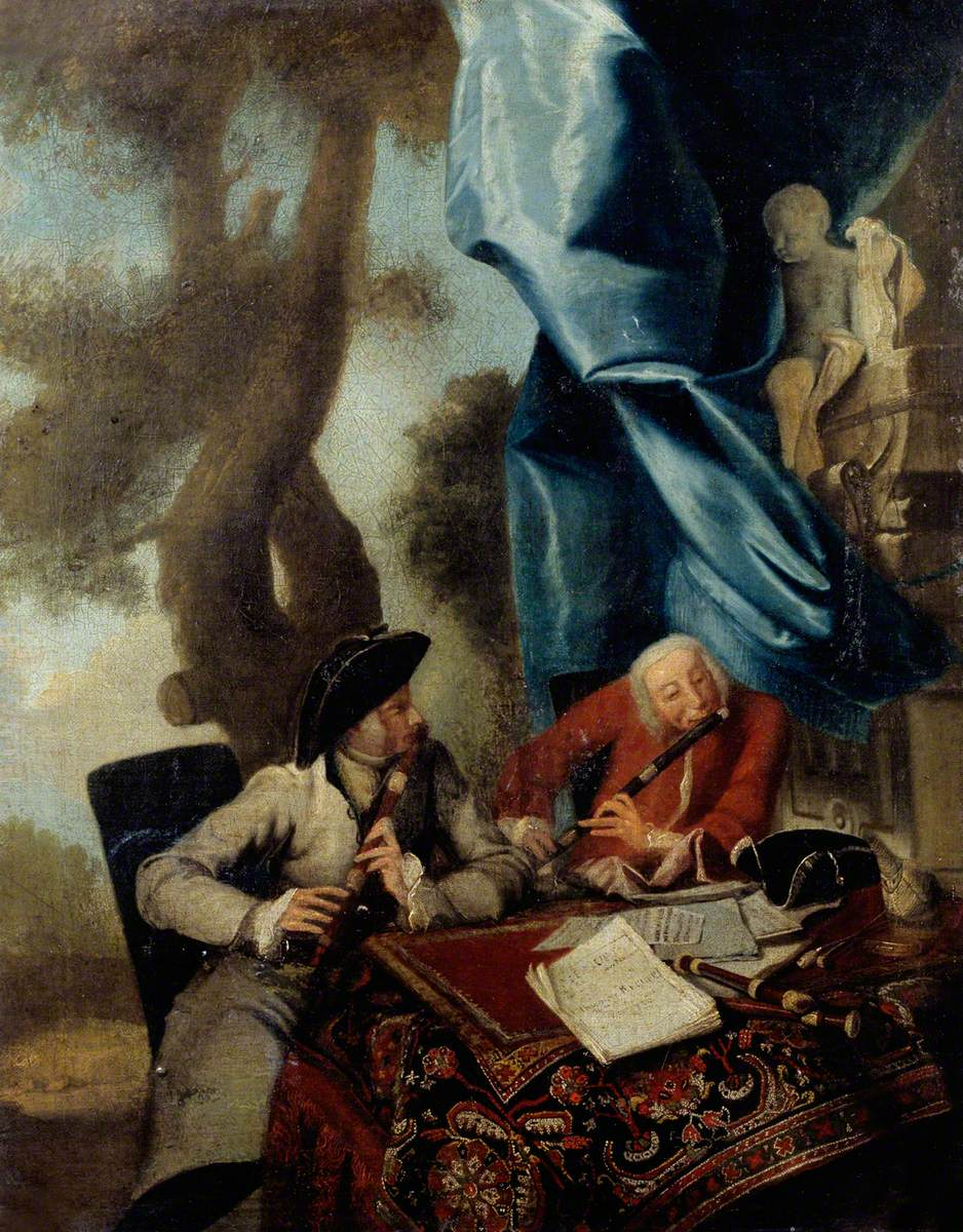Frederick the Great of Prussia Being Taught to Play the Flute by Johann Joachim Quantz