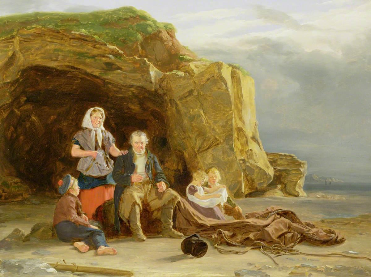 Coastal Scene with Figures Mending Nets