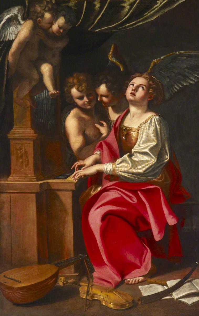 Saint Cecilia Playing the Organ
