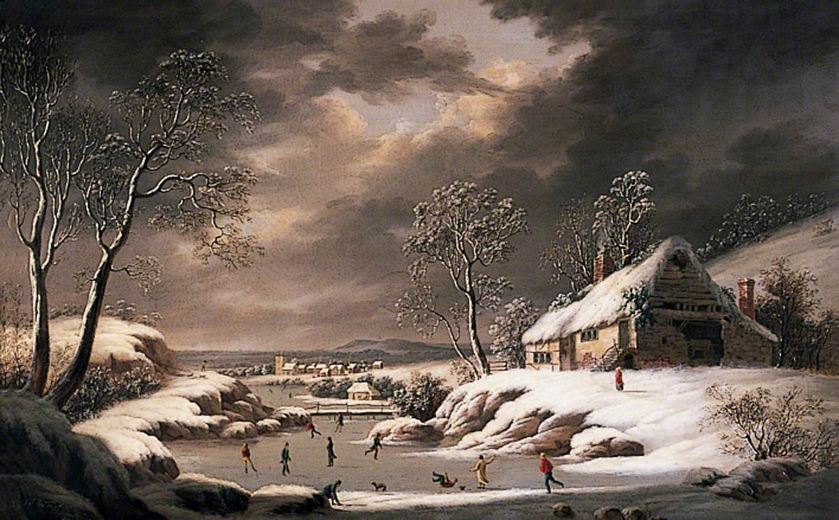 Winter Scene (Landscape with a Village and Figures Skating)