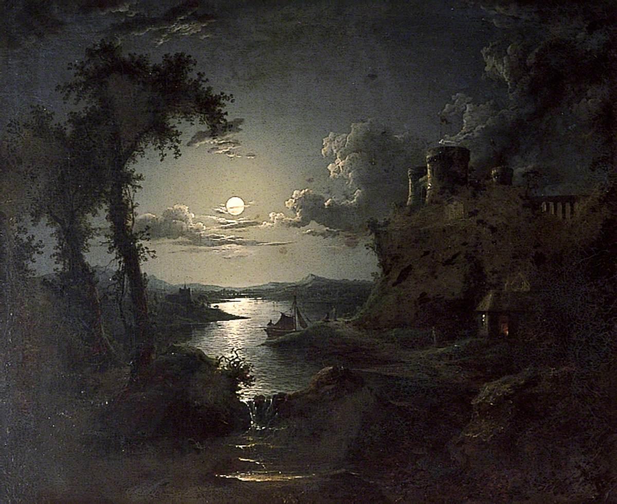 Moonlit Estuary Scene