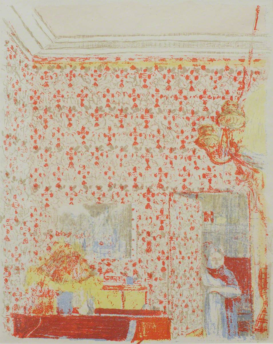 Intérior aux tentures roses I (Interior with Pink Wallpaper I)