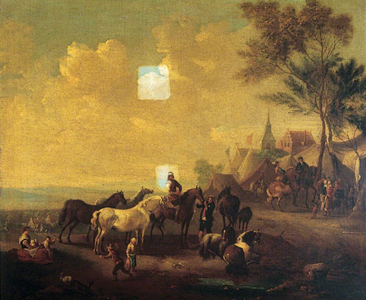 Riders and Horses Outside a Town
