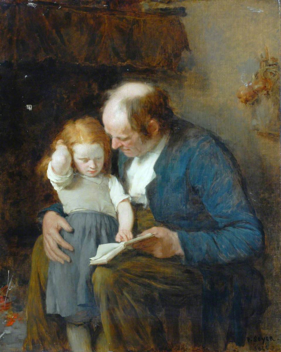 Old Man and a Young Girl Learning to Read