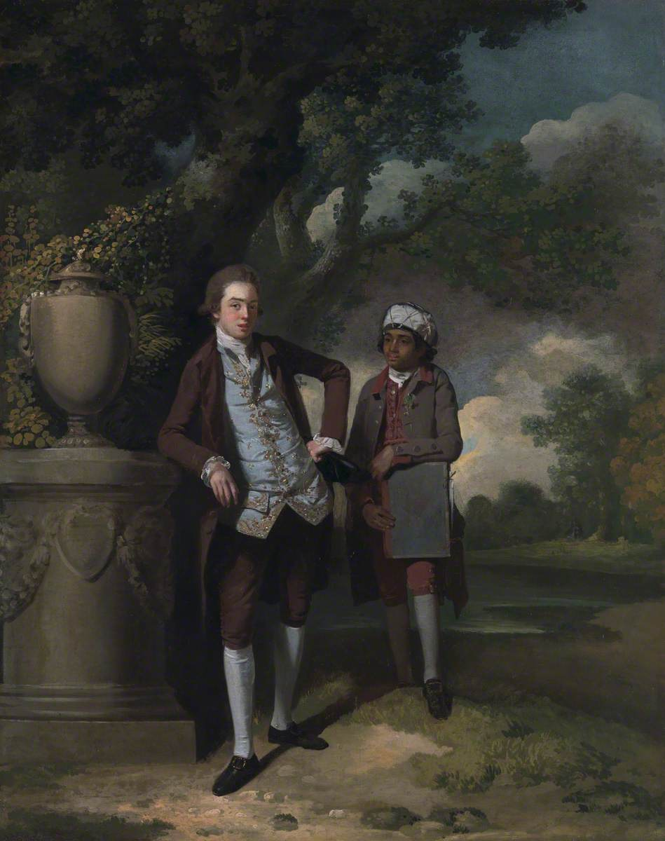 A Young Man with His Indian (?) Servant Holding a Portfolio