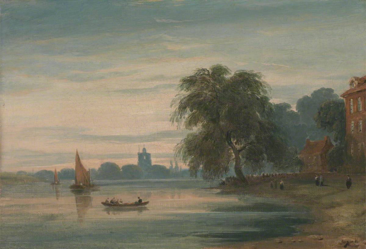 A View along the Thames towards Chelsea Old Church