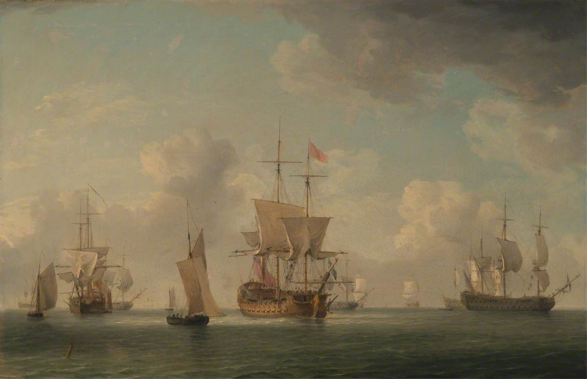 English Ships under Sail in a Very Light Breeze