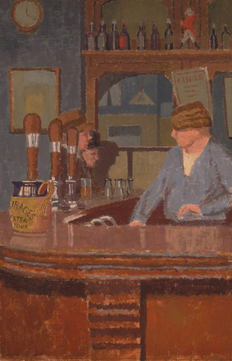 'The Princess of Wales' Pub, Trafalgar Square: Mrs Francis behind the Bar