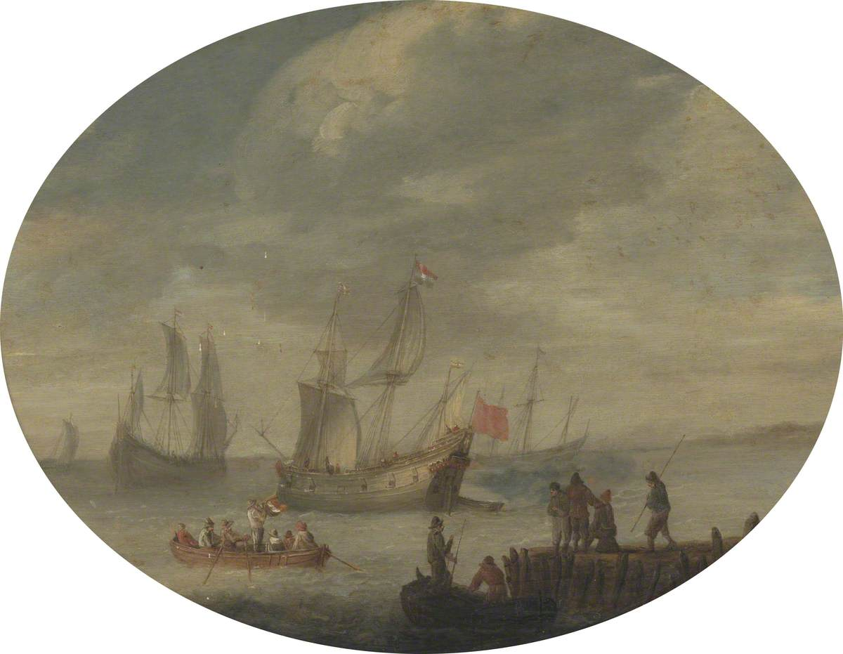Armed Merchantmen off the Dutch Coast Preparing to Set Sail