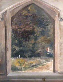 View through the Open Door of Orford Church, Suffolk, Looking Down the Path