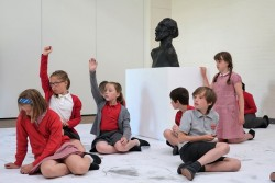 Pupils from Weetwood Primary School, Leeds, take part in large-scale drawing workshops