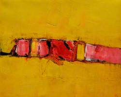 Landscape on Gold and Pink
