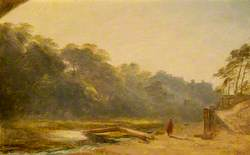 Sketch of a Figure Walking by a Stream