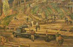 The Loading, Landings, Newfoundland Lumberjacks at Work in Scottish Forest