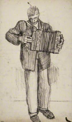 Young Man Playing an Accordion