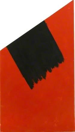 Medium segment, red with black brush stroke
