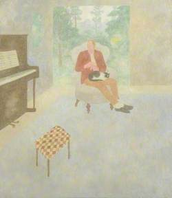 Man, Cat and Piano