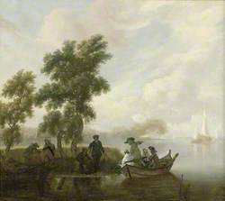 Lake Scene with a Fishing Party