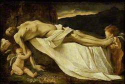 The Dead Christ mourned by Angels