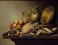 Still Life of Game, Fish, Fruit and Kitchen Utensils