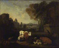 Italian Landscape with a Girl milking a Cow