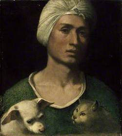 Portrait of a young Man holding a Dog and a Cat
