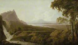Italianate Lake Scene with Waterfall