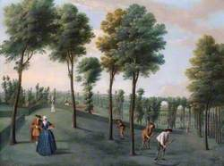 The North West Woodlands with Gardeners Scything, Hartwell House, Buckinghamshire