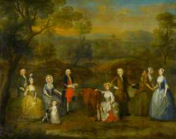 'Syllabub straight from the Cow' (The Russell and Revett Families in a Landscape)