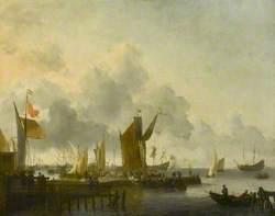 A Dutch Harbour with Numerous Figures, a Man of War Firing a Salute beyond