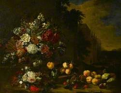 Still Life of Mixed Flowers in a Glass Vase