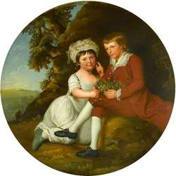 Portrait of a Boy and a Girl with a Basket of Fruit in a Landscape
