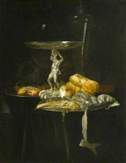 Still Life of a Silver Tazza with a Wine Glass, Crab, Herring, Bread and Onion on Pewter Dishes with Grapes Arranged on a Ledge