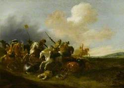 A Cavalry Skirmish in a Landscape