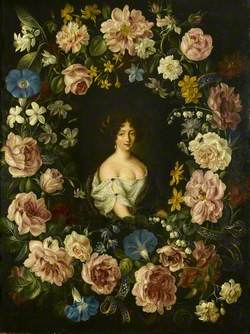 A Lady of the Mancini Family within a Garland of Flowers