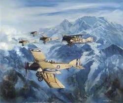 Bristol F2b Fighters over Mountains