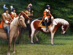 Four Cavalier Soldiers on Horseback