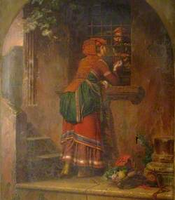 Lady Visiting a Man in a Cell