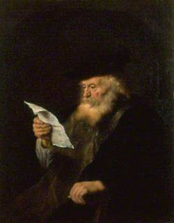 The Rabbi (Bearded Old Man with a Beretta, Reading a Letter)