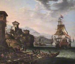 Italian Port Scene with Vessels Saluting