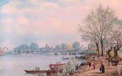 The Finish of the Boat Race at Mortlake, London