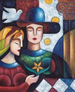 Two Figures with a Dove and a Flower