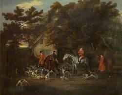 Huntsmen and Hounds Outside an Inn