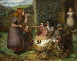 Bubbles, Cottage Scene with Children